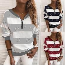 Büyük boy gevşek kadın bluz 2021 ilkbahar ve sonbahar kadın bluzlar tops moda rahat v yaka fermuar çizgili kadın gömlek