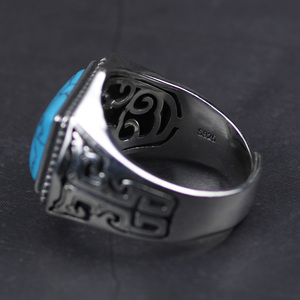 Image 5 - Genuine 925 Sterling Silver Rings For Men Inlaid Natural Stone Mens Ring Polygon Vintage Design Adjustable Turkey Jewelry