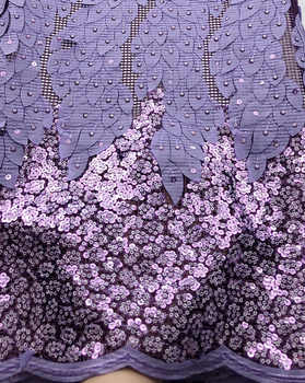 Newest lilac African chiffon Lace Fabric With Sequins 2020 High Quality Nigerian tulle Lace For bridal