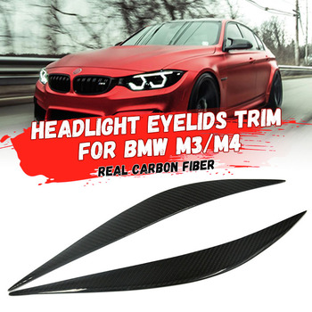 1Pair Car Sticker Headlight Eyebrows Front Headlamp Eyebrows Eyelids Trim Strip for BMW M3/M4/ 430i Refit into F80/F82/F83 image