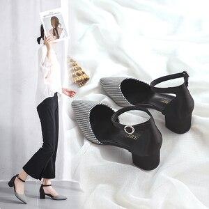 Image 4 - 2020 Houndstooth buty kobieta Plus rozmiar tkaniny bawełnianej kwadratowych szpilki wesele eleganckie szpiczasty nosek kostki pasek kobiety obcasy