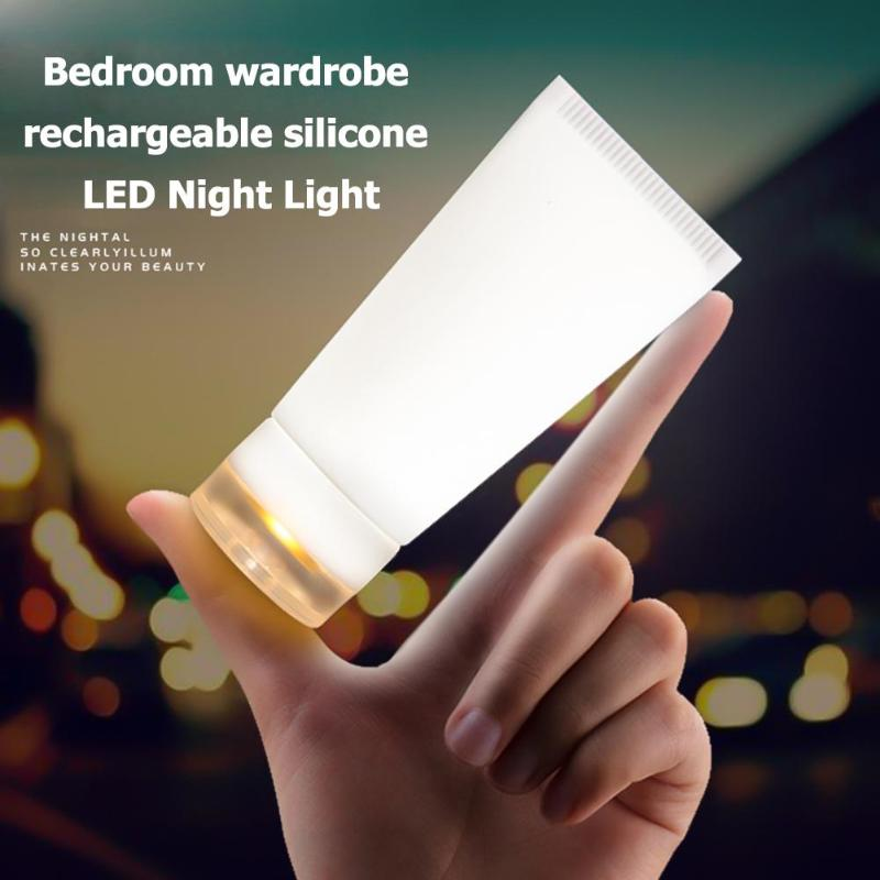 Creative Silicone LED Night Lamp USB Rechargeable Vibration Switch Small Light No Wiring Installation Simple And Convenient