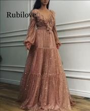 Rubilove Summer V Neck Woman Dress 2019 Spring Asymmetrical Long Sleeve Boho Maxi Dresses to the Floor