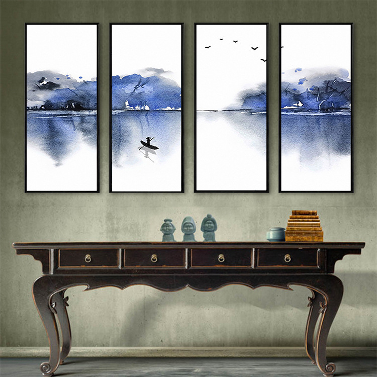 Chinese Style Hand-Painted Jiangnan Ink Landscape Frameless Painting Television Sofa Wall Living Room Library Room Wallpaper Mur