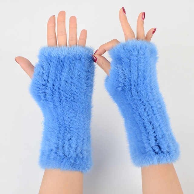 Fingerless Gloves Knitted Women Real Fur Mink Fur Winter Mink Fur Mittens For 2020 New Fashion Knitted Mink Fur Women Gloves 1