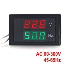 Medidor de frecuencia CA 80-300,0 V 45-65HZ, voltímetro de voltaje con pantalla Dual, Hertz/medidor de HZ con Led rojo
