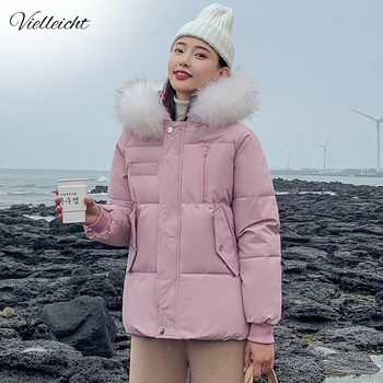 Vielleicht New 2019 Winter Jacket Women Coat Artificial Raccoon Hair Collar Female Short Parka Thick Cotton Padded Lining Jacket maternity winter jacket women new 2018 coats female parka black thick cotton padded lining clothes pregnant woman outwear