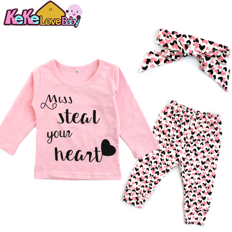 Newborn Infant Baby Girl Clothes Set Letter Cotton Tops Pants Headband 3Pcs Fashion Valentines Day Outfit Toddler Girls Clothing