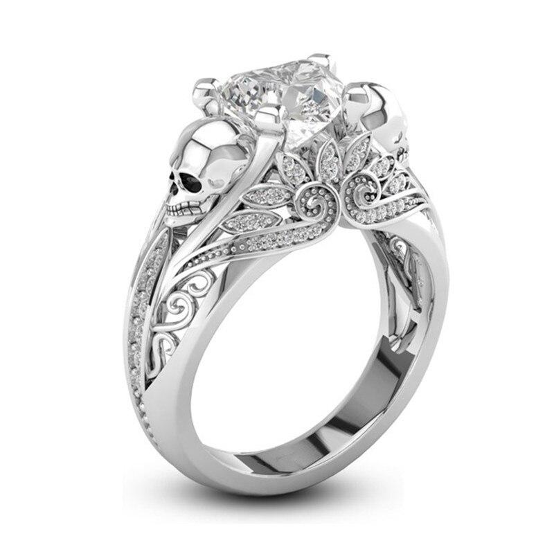 Скелет сердце Форма CZ камень в виде черепа обручальное кольцо для женщин, модное ювелирное изделие для помолвки, свадьбы, подарок ко Дню Свя...