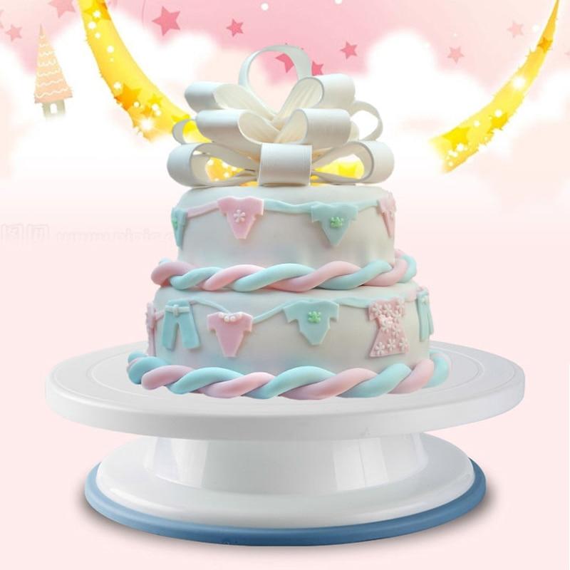 베이킹 퀸 케이크 플레이트 턴테이블 회전 미끄럼 방지 라운드 케이크 스탠드 케이크 장식 로타리 테이블 주방 DIY 과자 용품