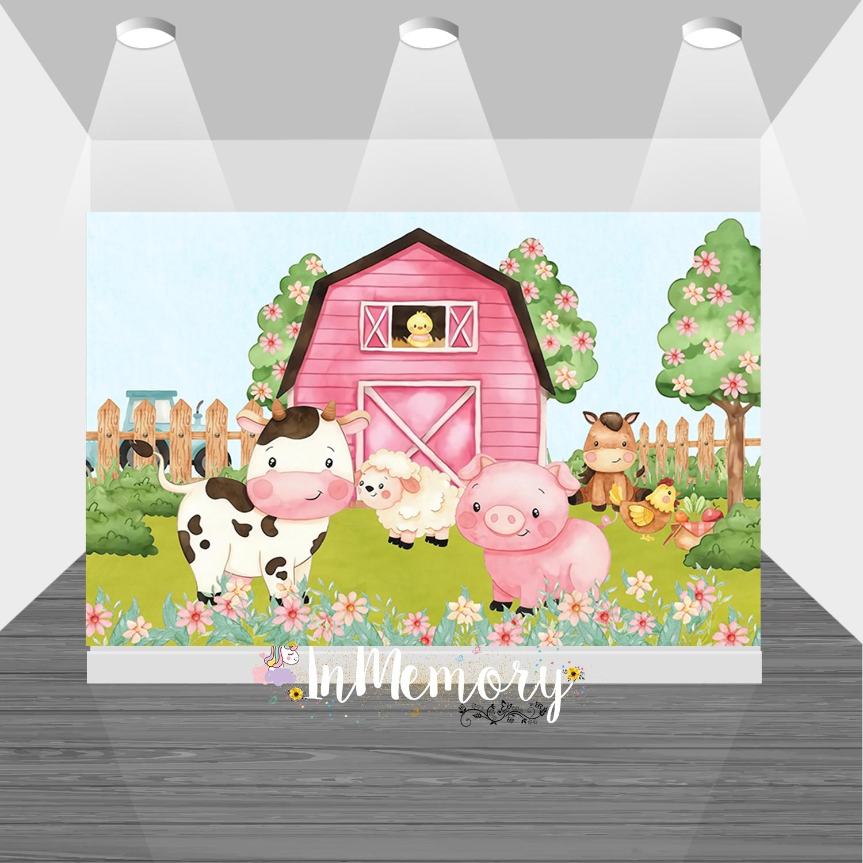 Фон для студийной фотосъемки новорожденных с изображением фермы животных сарая трактор первый день рождения