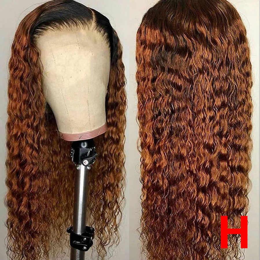 Pelucas de cabello humano rubio miel de encaje Frontal, pelucas de cabello humano Remy ondulado al agua 1b/30, peluca Frontal de encaje 360, pelucas Ombre brasileñas