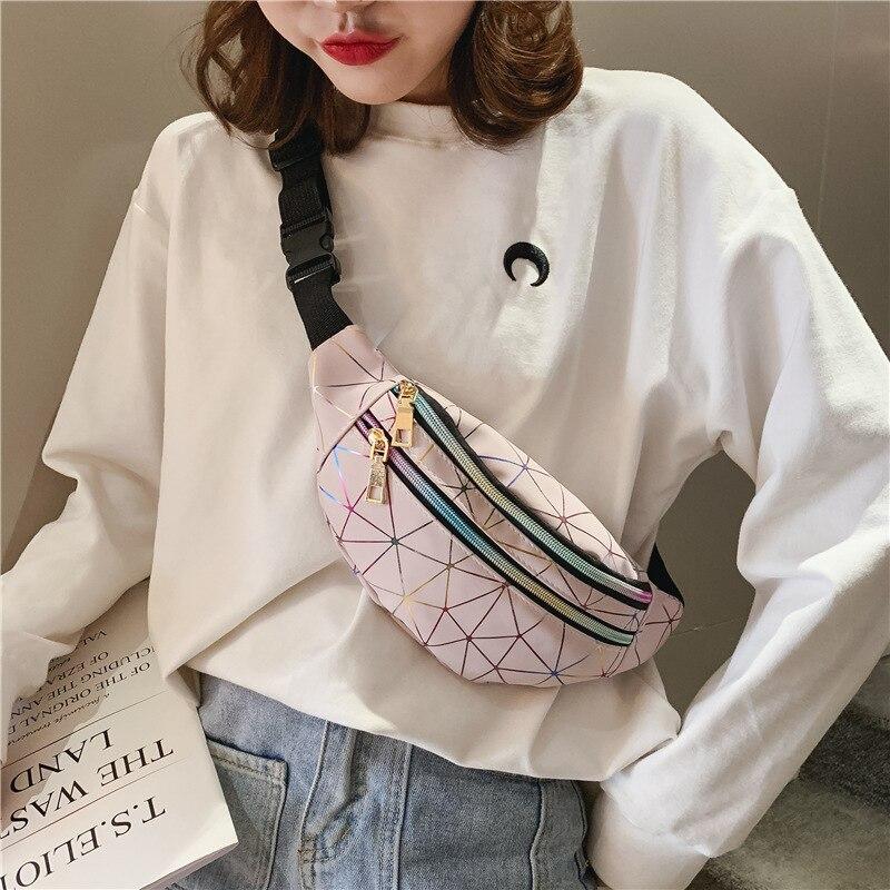 Новый стиль, сумка для бега, складная, со стразами, стеганая, из искусственной лакированной кожи, лазерная, контрастного цвета, унисекс, на