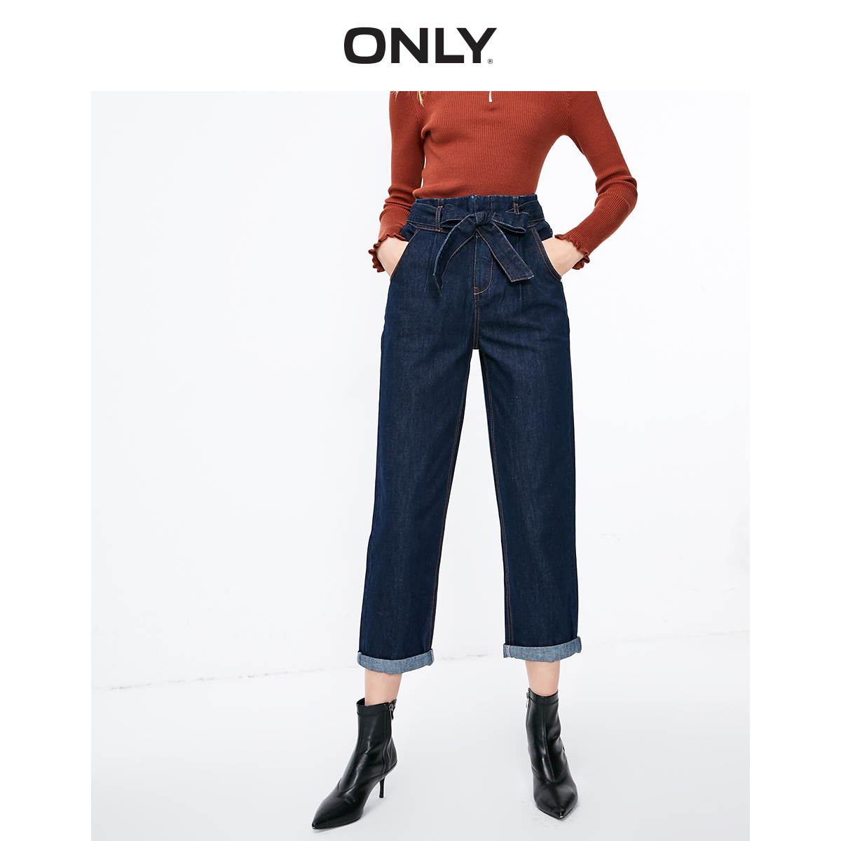 ONLY Women's Loose Fit High-rise Crop Jeans | 119149585