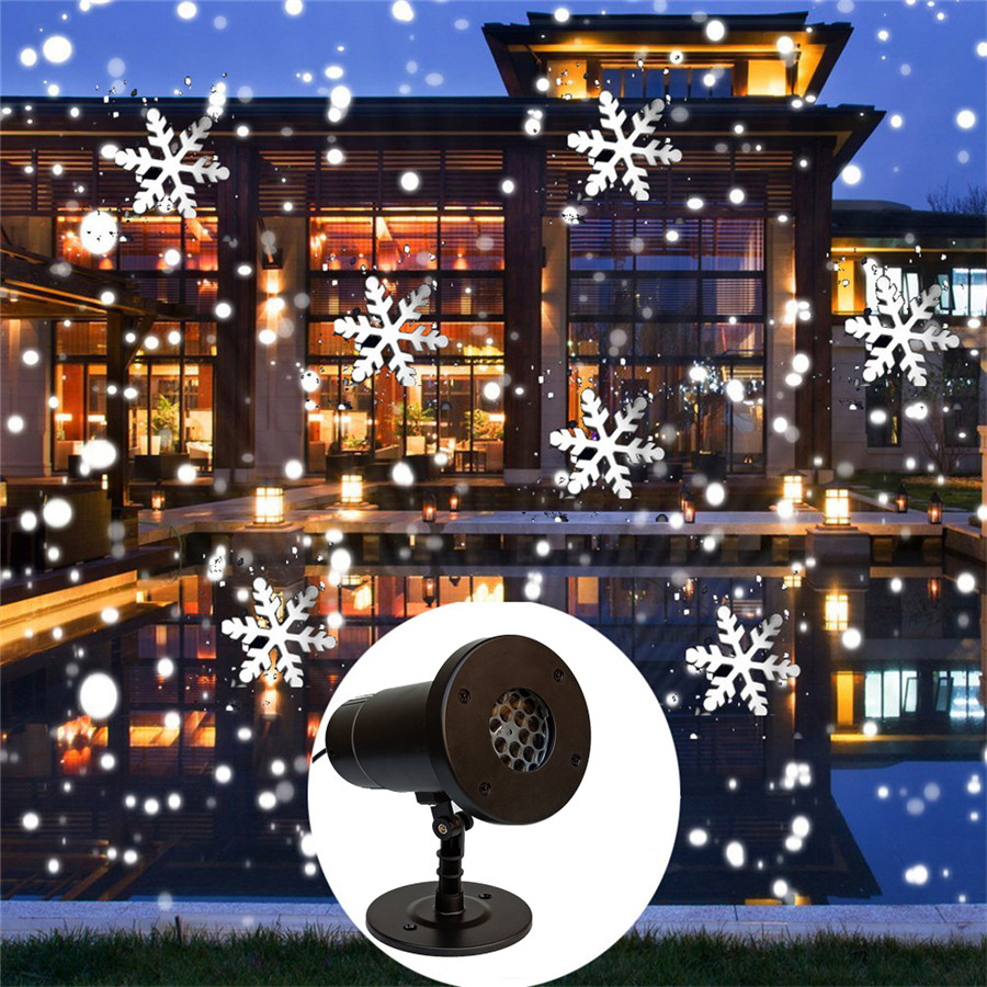 Thrisdar Remote Control Moving Christmas Snowflake Laser Projector Outdoor Snowfall Projector Lamp Party Landscape Spotlights
