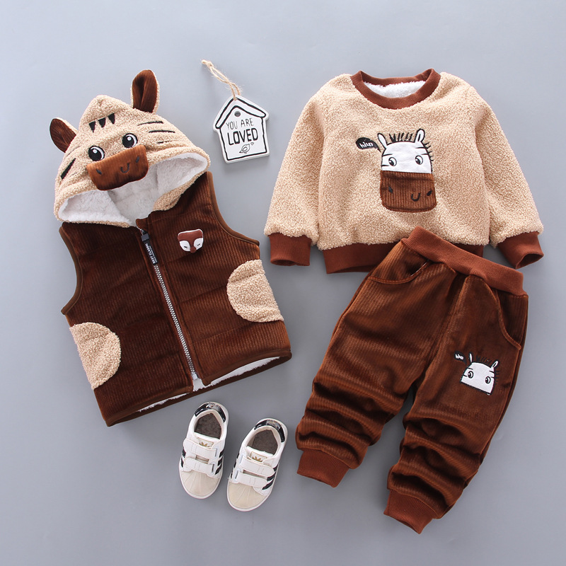 Children's lamb wool warm clothes winter baby boy clothes baby girl cartoon cat plus velvet thick hooded sweater 3-piece set 2