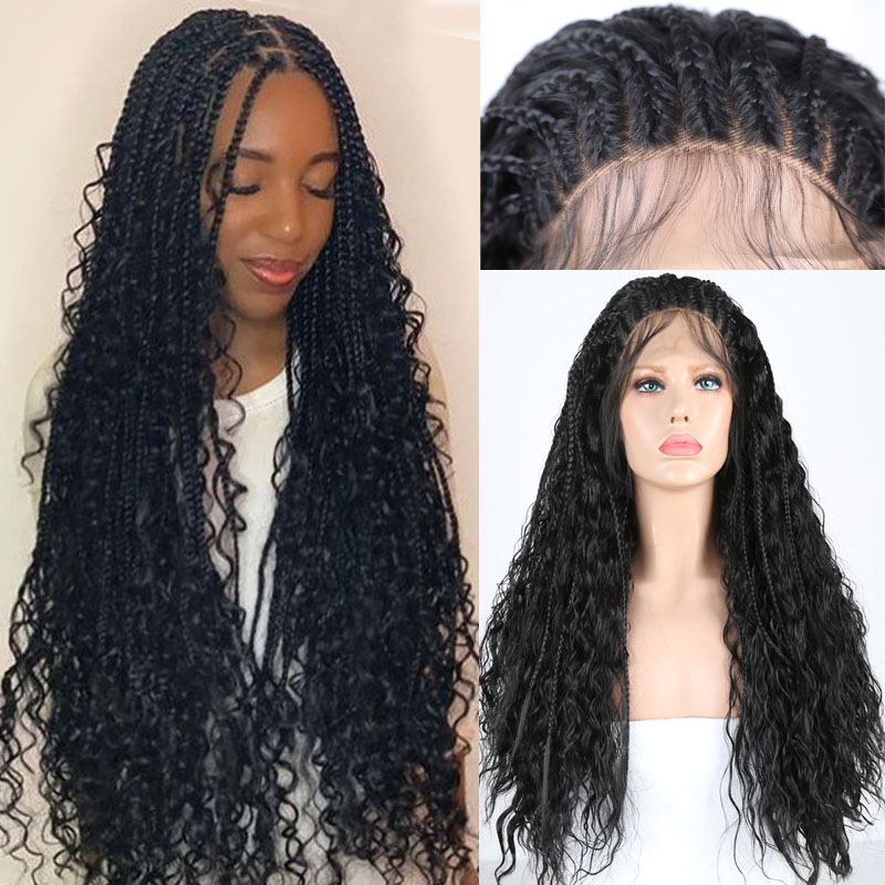 RONGDUOYI High Temperature Fiber Lace Wig Braided Synthetic Lace Front Wigs For Women Long Black Hair Braids Wig Daily Use Wigs
