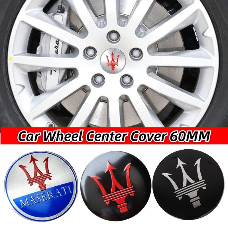 4Pcs 60mm Car Wheel Center Hub Cap Emblem Badge Sticker Center Cap for M-aserati Quattroporte Levante Ghibli