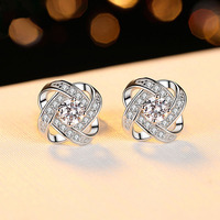 Fashion Earrings for Hot Girls Real 925 Sterling Silver Jewelry Shiny Cubic Zirconia Stud Earrings OL Stylish Female Wearing