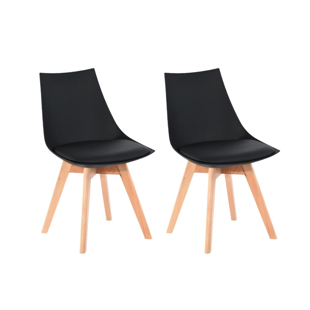 EGGREE Set Of 2pcs Mint Padded Dining Chair For Dining Room, Living Room And Bedroom - Black