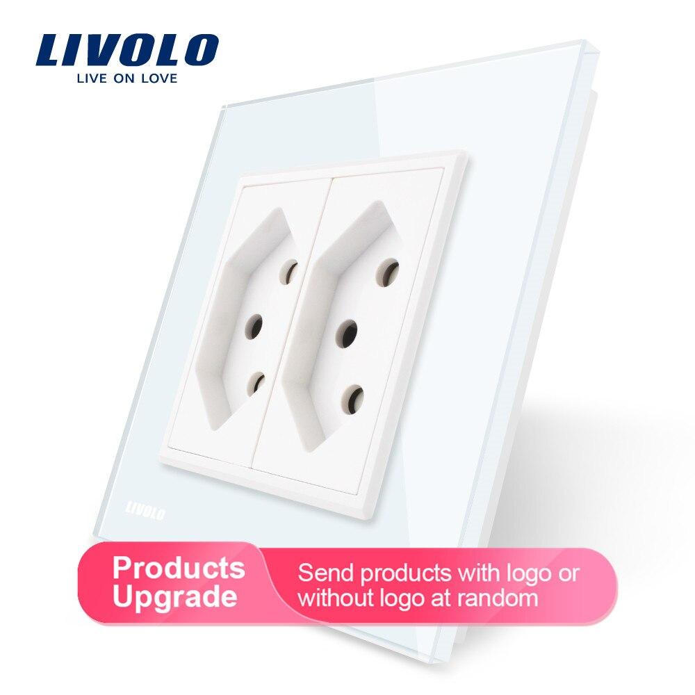 Livolo EU Standard Two Gang Switzerland Power Socket, White Crystal Glass Panel, AC 110~250V  Wall Power Socket, VL-C7C2CH-11