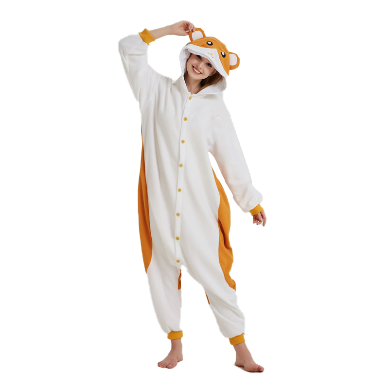 Hamster Onesie Animal Kigurumis Mouse Pajama Funny Cute Overalls Adult Women Winter Jumpsuit Polar Fleece Cartoon Suit Outfit