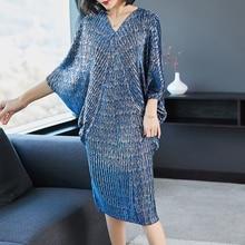 LANMREM женское платье, 2020, высокое качество, новая мода, V образный вырез, плиссированные рукава летучей мыши, свободные, большой размер, одежда с принтом, платье YE853