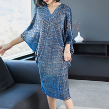 Lanmrem 2020 高品質新ファッション v 襟プリーツバットウィングスリーブルーズビッグサイズのドレスプリント服 vestido YE853