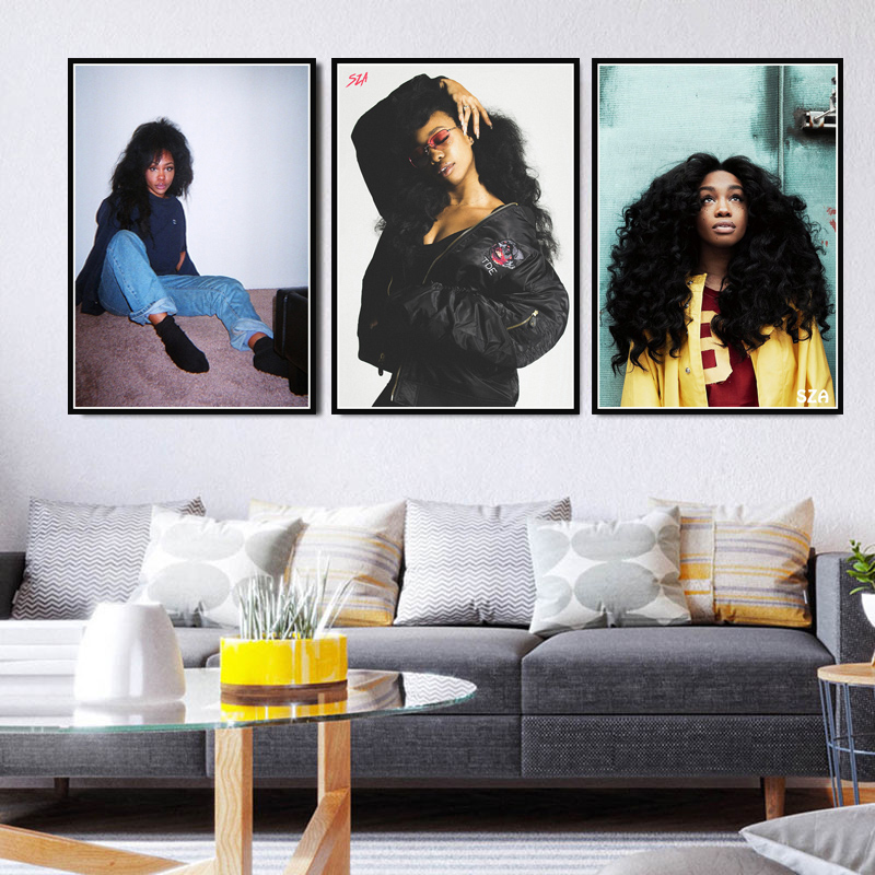 Poster Prints SZA Singer Star Poster Rapper Hip Hop Rap Music Canvas Oil Painting Art Wall Pictures For Living Room Home Decor