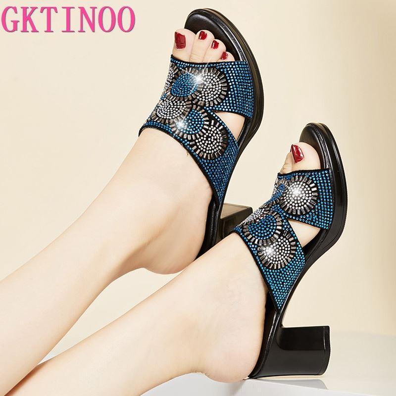 GKTINOO Women Slipper's 2020 Ladies Summer Slippers Genuine Leather Shoes Women High Heels Fashion Rhinestone Summer Shoes