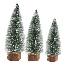 Tabletop Christmas Tree Miniature Pine Frosted With LED Design Trees Wood Base Crafts Home Decor Ornaments