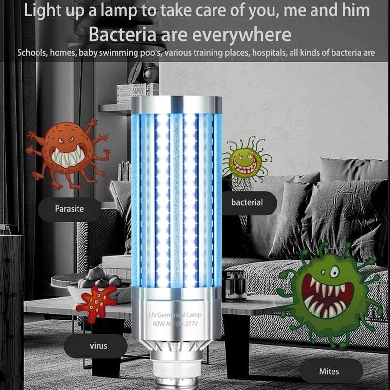 E27 UVC Ultraviolet UV Light Tube Bulb 60W NDisinfection Lamp Ozone Sterilization Mites Lights Germicidal Lamp Bulb