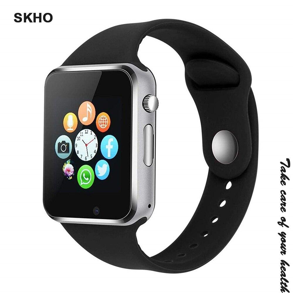 SKHO A1 Armbanduhr Bluetooth Smart Uhr Sport Schrittzähler Mit SIM Kamera Facebook Smartwatch für Android PK iwo 8 DZ09 uhr