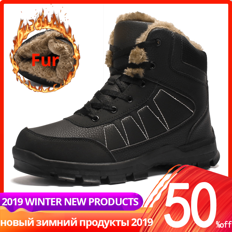 39-47 Winter Boots Men Warm High Quality Casual Ankle High Top Leather With Fur Plush Men Winter Shoes #XW868