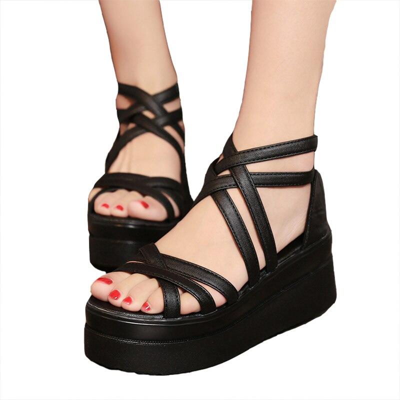 ZHENZHOU Summer Cross Dewy Toe Women Shoes Sandals Sponge Base Platform Height With The Roman Sandals White Female