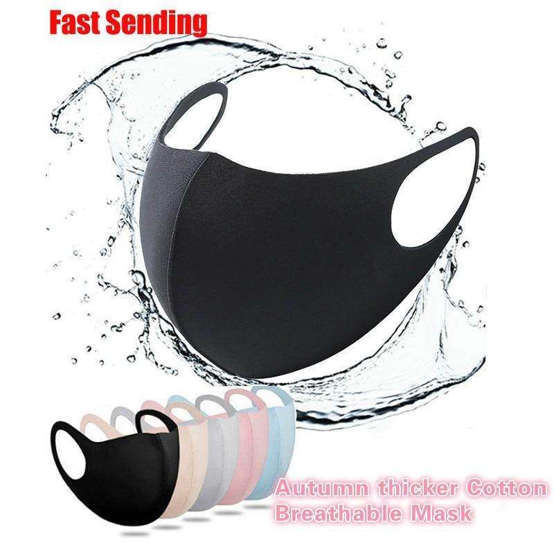 Máscara facial de algodão de seda fresca para homem mulher lavável reutilizável anti poeira à prova de vento boca-muffle máscara respirável pm2.5 1