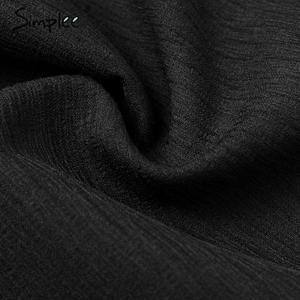 Image 5 - Simplee Sreetwear V hals Blazer Jurk Elegante Bladerdeeg Mouw Boog Korte Party Dress Office Dames Chic Solid Black Herfst Werk Jurk
