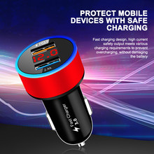AOZBZ Fast Charge 3.0 USB LCD Digital Car Charger SCP Dual USB Multiple Safety Protection Car Phone Fast Charging High Quality(China)