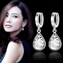 Exquisite rhinestone fashion sweet silver plated earrings ladies jewelry