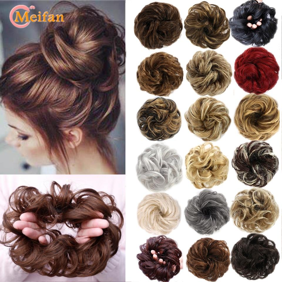 Meifan cabelo encaracolado chignon resistente ao calor sintético elástico faixas de cabelo senhora coque para noivas/festa scrunchies donut chignon