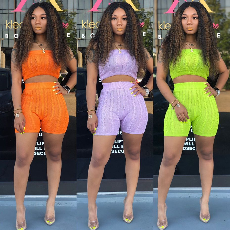 HAOYUAN 2 Piece Set Women Festival Sexy Off Shoulder Knit Crop Sweater Top And Biker Shorts Matching Sets Two Piece Club Outfits