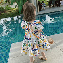 2021 Summer New Arrival Girls Fashion Cartoon Printed Dress Kids Back Bow Dresses Girls Dress