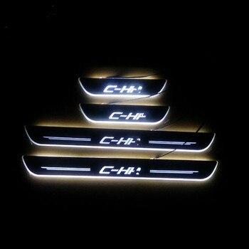 4 adet/takım led hareketli koşu kurulu captur kapı eşik plakaları itişme LED sürtme plakası plaka kapı fit CHR için C-HR 2016 -2018