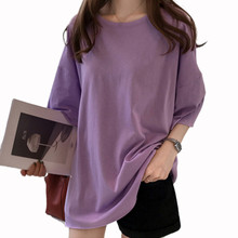 2020 verão de tamanho grande t camisa feminina doce cor o pescoço manga curta elástica básica longa camiseta solta streetwear camisetas