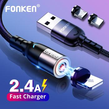 FONKEN Type C USB Magnetic Cable Micro USB Charge Cable For iPhone Samsung Huawei Magnet Charging Phone Mobile Fast Charger Cord
