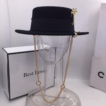 Black cap female British wool hat fashion party flat top chain strap and pin fedoras for woman a street-style shooting - discount item  10% OFF Hats & Caps