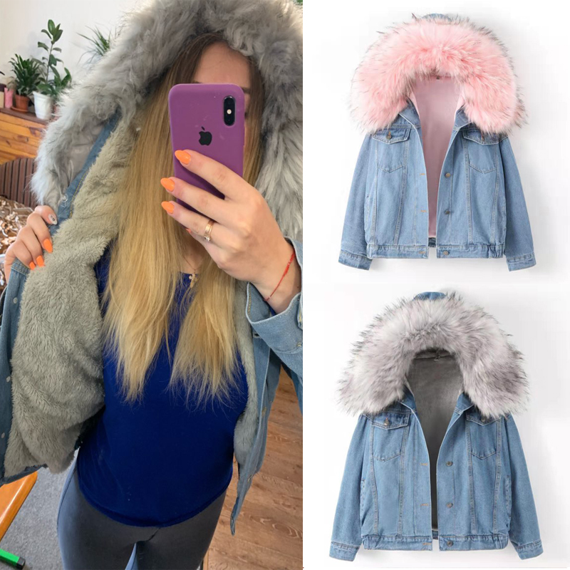Elexs velvet thick denim jacket female winter big fur collar Korean locomotive lamb coat female student