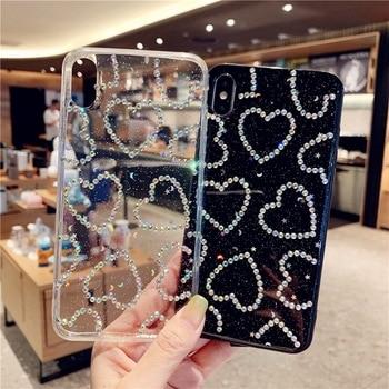 Sinocom Handa Glitter Love Heart Rhinestone Phone Case For iPhone12 11pro 11promax X XS XR XS Max 6 6S 7 8 Plus 1