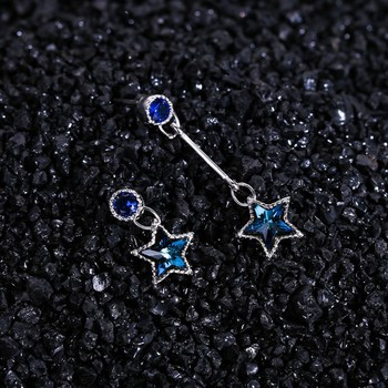 Fashion S925 Sterling Silver Dissymmetry Drop Earrings with Long Section Tassel Crystle Star for Women Party Luxury Jewelry C634 925 sterling silver willow leaves tassel long earrings for women luxury lady party fashion jewelry flyleaf