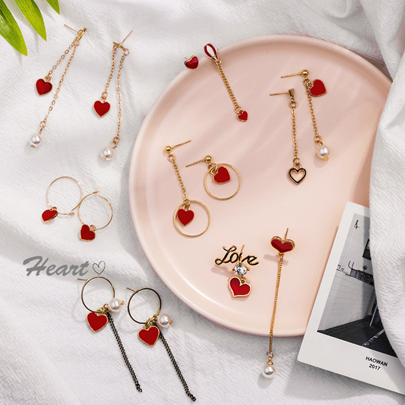 2019 New Geometric Asymmetric Red Heart-shaped Earrings Personality Long Gold Color Retention Pearl Earrings For Female